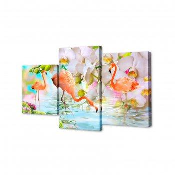 Модульная картина на подрамнике фламинго, 26x30 см, 26x40 см, 26x50 см, 50