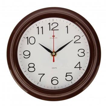 Часы настенные классика, рубин, коричн. обод  21х21 см