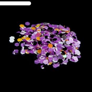 Камифубуки/крошка для декора ногтей, цвет оранжевый/чёрный/фиолетовый