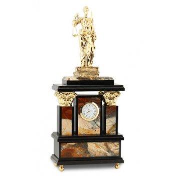 Часы фемида, камень яшма, статуэтка бронзовое литье арт.3091