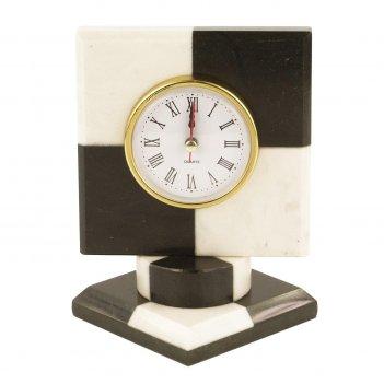 Часы шахматные мрамор змеевик 120х120х150 мм 1050 гр.