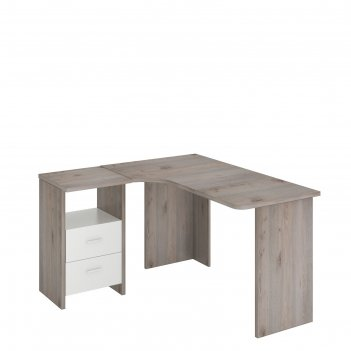 Угловой стол, 1200 x 1300 x 770 мм, левый угол, цвет нельсон/белый