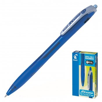 Ручка шариковая автоматическая pilot rex grip, узел 0.5 мм, чернила синие