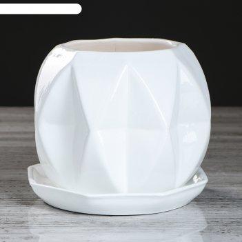 Кашпо сфера 1,5 л глазурь, белый