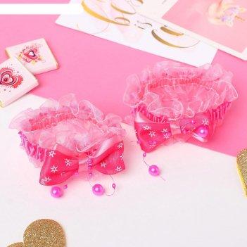Резинка для волос рюши (набор 2 шт) банты со звёздами, малиновый