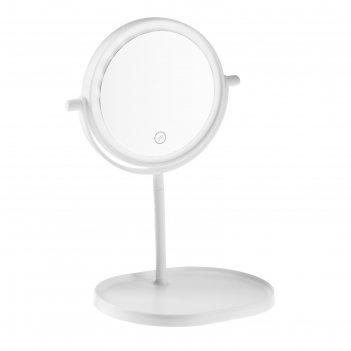 Зеркало с подсветкой luazon kz-14, 4*ааа (не в компл), настольное, круг, б