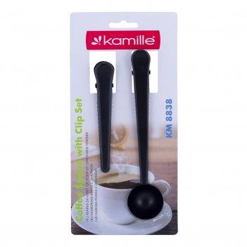 Ложка мерная для кофе kamille с зажимом + зажим 2 пр.(черный) km-8838