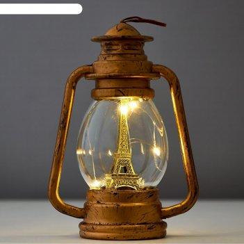 Ночник фонарь led от батареек золото/серебро 6х10,5х15 см