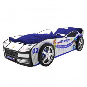 Кровать-машина «турбо полиция» без подсветки + пластиковые колёса (2 шт)