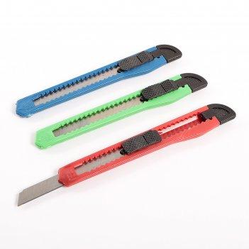 Нож канцелярский, лезвие 9 мм, пластиковый, с фиксатором, в блистере, микс