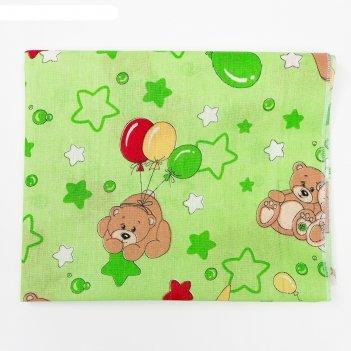 Пеленка, размер 75 х120 см, ситец, цвет зеленый принт микс