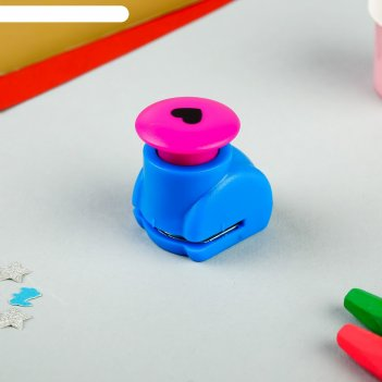 Дырокол фигурный кнопка сердечко рисунок диам 1,3 см
