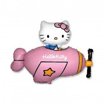 Шар фольгированый фигура/11 36 hello kitty самолет розовый фм