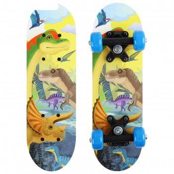 Скейтборд детский «динозавры» 44х14 см, колёса pvc d=50 мм