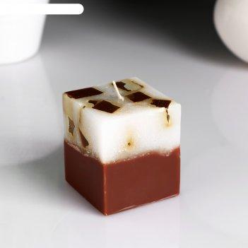 Свеча- куб с мозаикой кофе ароматическая, 5x6 см