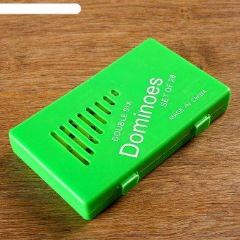 Домино, коробка пластик микс, 28 фишек пластик 2,3х4,8мм, 11х18см