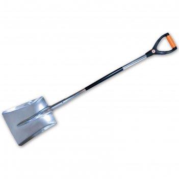 Лопата совковая, алюминиевая, металлический черенок, с ручкой