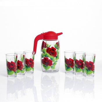 Набор для сока красная роза художественная роспись, 6 стаканов  1250/200 м