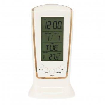 Часы-будильник электронные паритет, с термометром и подсветкой, 13х6.5 см