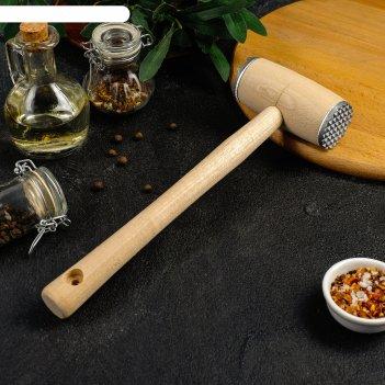 Молоток для отбивания мяса с металлическими накладками (береза)
