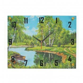 Часы настенные, серия: природа, лодка на реке, 35х45  см, микс