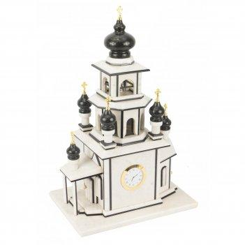 Часы храм мрамор змеевик 310х220х480 мм 11000 гр.