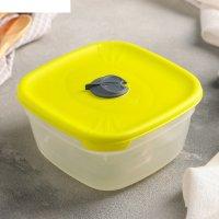 Контейнер пищевой 1 л с крышкой для свч, квадратный, лайм
