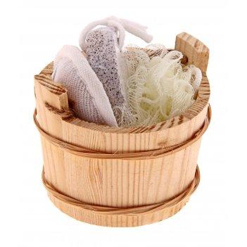 Набор банный в деревянном ушате 4 предмета: массажная мочалка, мочалка-бан