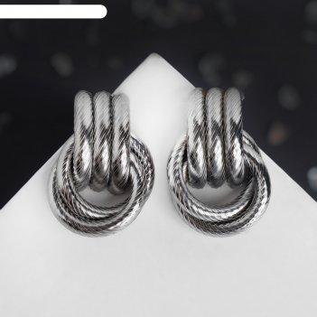 Серьги металл геометрия три ряда колец, цвет серый металл