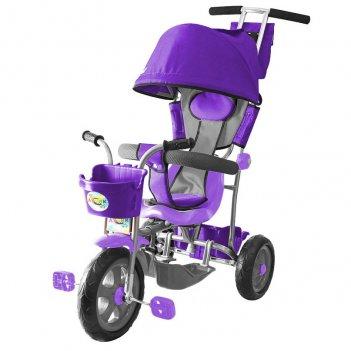 Л001 3-х колесный велосипед galaxy лучик с капюшоном фиолетовый