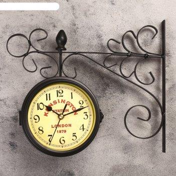 Часы настенные двойные, серия: садовые, тактоо, чёрные, 24х30 см