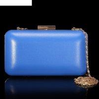 Клатч женский, отдел на рамке, длинная цепь, цвет синий