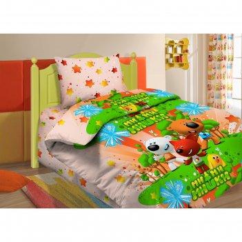 Постельное бельё 1.5сп павлинка «мимимишки», цвет персик,145х215, 150х215,