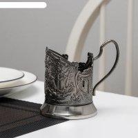 Подстаканник «мишки в лесу», никелированный с чернью