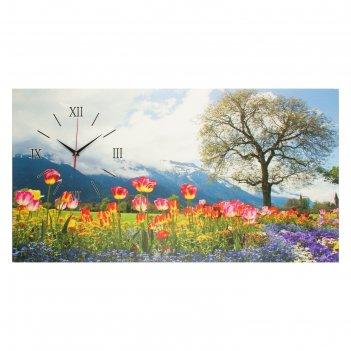Часы на холсте цветочное поле, 50х100  см, микс