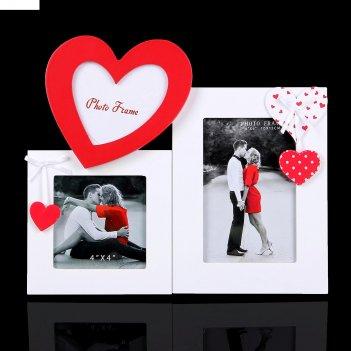 Фоторамка на 3 фото сердечки любви 10х10; 10х15 см