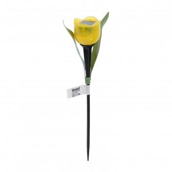 Фонарь садовый на солнечной батарее uniel желтый тюльпан, белый свет, ip44