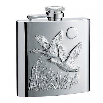 Фляга s.quire птицы 0,27 л, сталь, серебристый цвет с рисунком