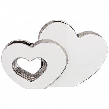 Ваза декоративная два сердца серебряная коллекция 30*8*19 см (кор=12 шт.)