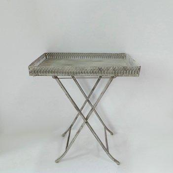 Столик складной  декоративный,  белая патина