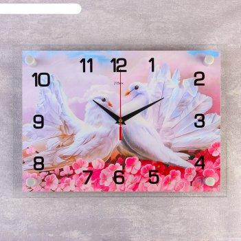 Часы настенные, серия: животный мир, голуби в цветах, 25х35  см, микс