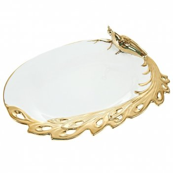 Блюдо сервировочное золотой павлин 40*12*30см. (керамика) (под