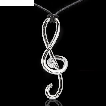 Кулон скрипичный ключ, цвет серебро, 45 см