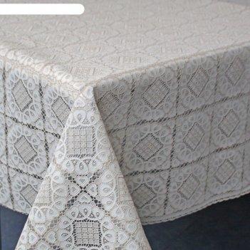 Клеенка столовая ажурная, твp948, 138 см, рулон 15 п.м., бежевый