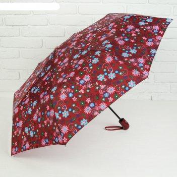 Зонт автоматический «сердца и бабочки», 3 сложения, 8 спиц, r = 49 см, цве