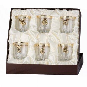 Набор бокалов для виски (6 шт.) с накладкой звери (латунь)  в футляре пейс