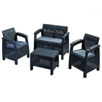 Комплект садовой мебели (2х местный диван+2 кресла+ стол) yalta set, цвет