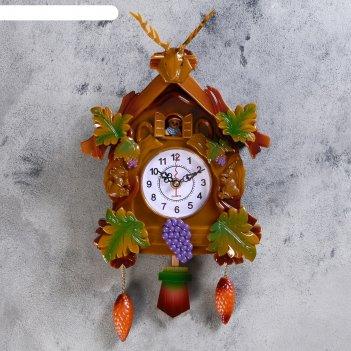 Часы настенные с кукушкой, серия: детские, белочки вокруг домика 40х21 см