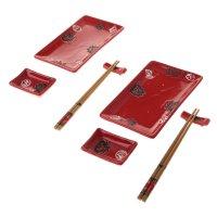 Набор для суши восточный орнамент на красном, 8 предметов