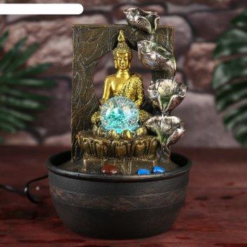 Фонтан настольный от сети будда у водопада у скалы 28х19х19 см